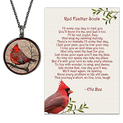 Lola Bella Gifts and Spirit Lala Reversible Cardinal Necklace with Backside Our Love Never Dies and Red Feather Souls Poem Card, Gift Box Grief Sympathy Gift