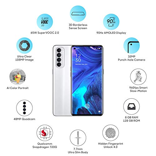 OPPO Reno4 Pro (Silky White, 8GB RAM, 128GB Storage) with No Cost EMI/Additional Exchange Offers