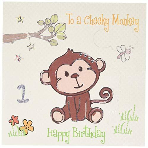 witte katoenen kaarten Aan een Cheeky Happy 1, Handgemaakte 1e Verjaardagskaart, Aap, Wit