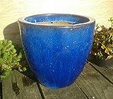 robuster Blumentopf 31 cm Durchmessser, blau glasierte Keramik Steingut Garten Deko Blumenkübel Pflanztopf