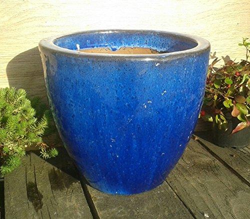 terracotta-toepfe-de 2. Wahl !! Aktion !! robuster Blumentopf 25 cm Durchmessser, blau glasierte Keramik Steingut Garten Deko Blumenkübel Pflanztopf