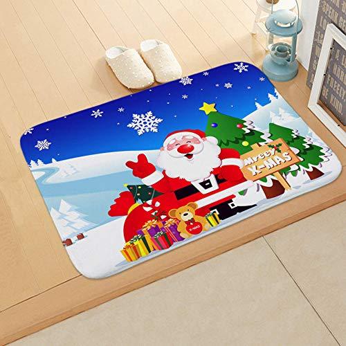 UANOU Feliz Navidad Decoración Felpudo Papá Noel Impresión Alfombra De Franela Alfombra Antideslizante