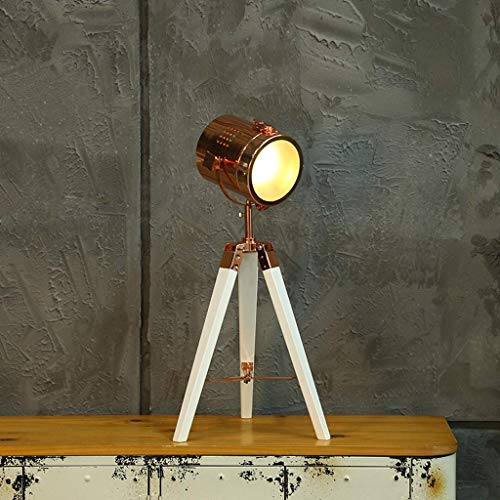 SKSNB Lámpara de pie LED con trípode de Madera, trípode Lámparas de pie para Sala de Estar Lámpara de Mesa Vintage Lámpara de pie Lámpara de Suelo Industrial para Dormitorio, Estudio, sa