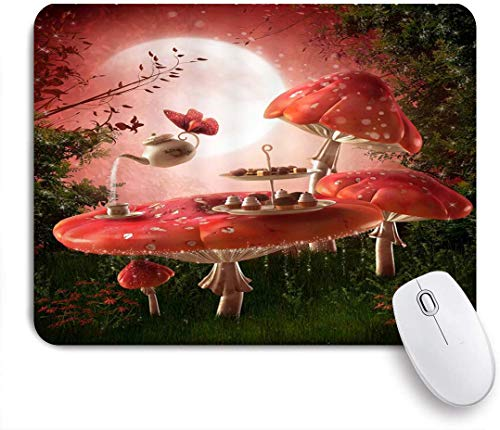 Benutzerdefiniertes Büro Mauspad,Fantasy Garden Pink Pilz Esstisch Teesets Grüne Pflanzen Wiese Mond Nacht Landschaft,Anti-slip Rubber Base Gaming Mouse Pad Mat