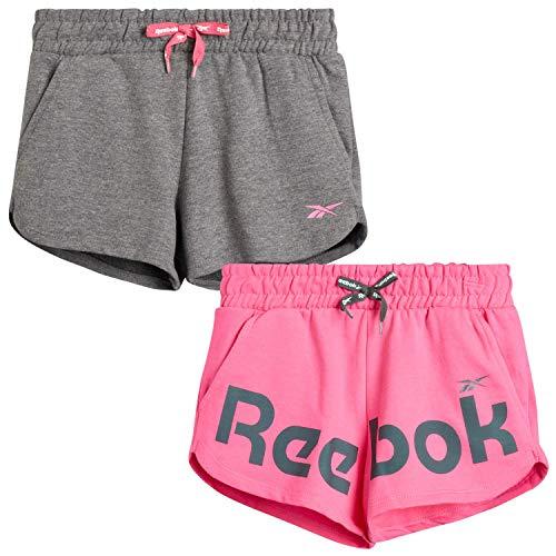 Reebok Girls' Active Shorts - Lightweight Athletic Dolphin Gym Shorts (2 Pack), (Sugar Plum/Dark Heather Grey, Medium/(8-10))