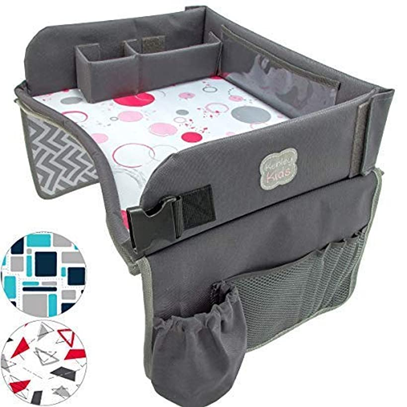 Kenley Kids Travel Tray, Toddler Car Seat Lap Tray, 16.5 x 13.5 Inches, Pink