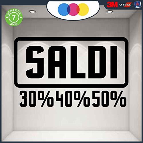 Stickers - raamfolie - SALDI- FANTASIE - Vetrine - 20% -30% -40% -50% -60% -70% cod.