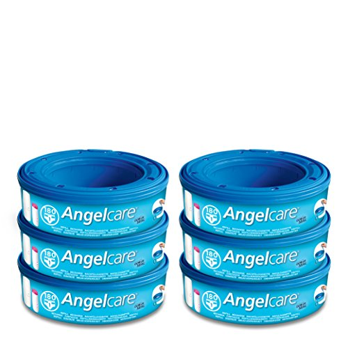 Angelcare - Set di rotoli di sacchetti per sistema di smaltimento pannolini, 6 pz.