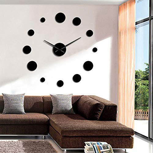 YQMJLF Reloj Pared DIY 3D Grande Reloj Pared Grande con Espejo Redondo diseño Simple y Moderno Reloj Pared Gigante sin Marco Reloj Accesorios decoración hogar Regalo entusiastas Bricolaje Negro