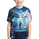 How to Train Your Dragon Camisetas de Verano para niños y niñas Manga Corta Linda y Exquisita impresión 3D Camiseta Juvenil Camisa Informal