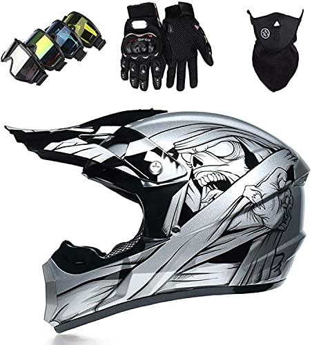 AZBYC Casco Motocross Niño Homologado Casco Moto Integral Unisex para Moto Cross Descenso Enduro MTB Quad BMX Bicicleta (Gafas+Máscara+Guantes) (XL)