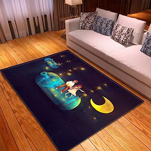 Haushaltskind Spielzeugmatte Teppich, Cartoon Glasflasche Schaukel Jungen Und Mädchen Mondmuster, Haltbare Polyester Rutschfeste Teppich 80Cmx150Cm