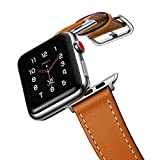 amBand Leather Band Compatible with Apple Watch 38mm 40mm, Genuine Leather Vintage Replacement Strap Classic Bands Buckle Compatible with iWatch Series 5/4/3/2/1 Brown
