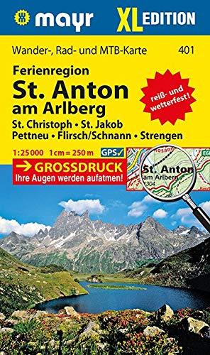 Ferienregion St. Anton am Arlberg XL: Wander-, Rad- und Mountainbikekarte. GPS-genau. 1:25000 (Mayr Wanderkarten)