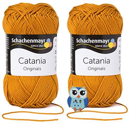 Schachenmayr Catania Wolle 2x50 Gr, 100% Baumwolle + 1 Eulen Knopf(383 Zimt)