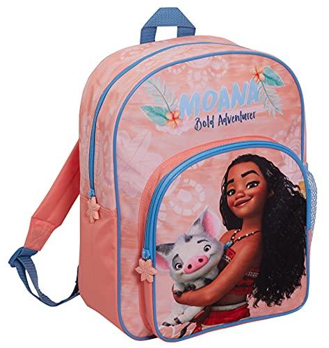 Disney Sac à dos Moana pour filles - Grand sac d'école, de voyage, de sport avec porte-gobelet, rose, Taille unique, Sac à dos