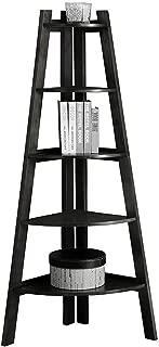 Furniture of America Lawler 5-Shelf Corner Wood Bookcase in Black