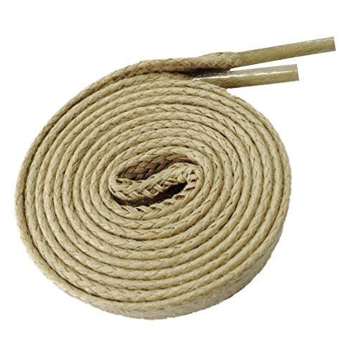 McLaces 1 Paar gewachste flache Schnürsenkel (Baumwolle) ca. 4mm (130 cm, sand)
