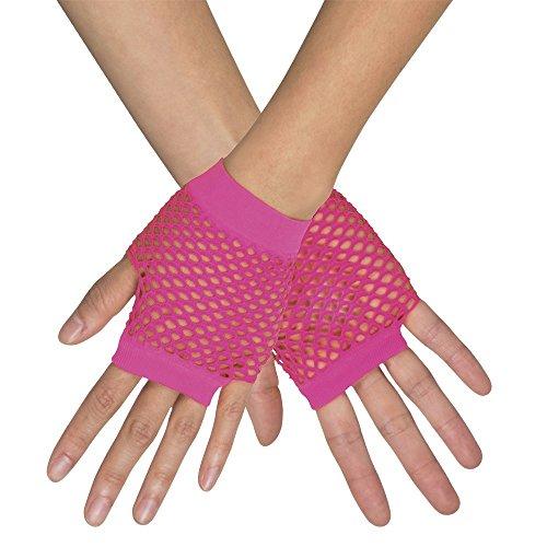 Kurze Fingerlose Netz Handschuhe New York - Neon Pink - Zubehör Party Fasching und Show Kostüme