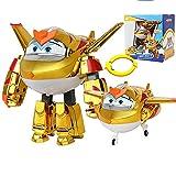 BESTWALED Super Alas Goldenboy Niños Juguetes Deformación Robots Multifunción Juguete,Modo Avión Y Robot Super Wings Temporada 9 Niño Niña Cumpleaños Navidad Regalo No Necesita Batería