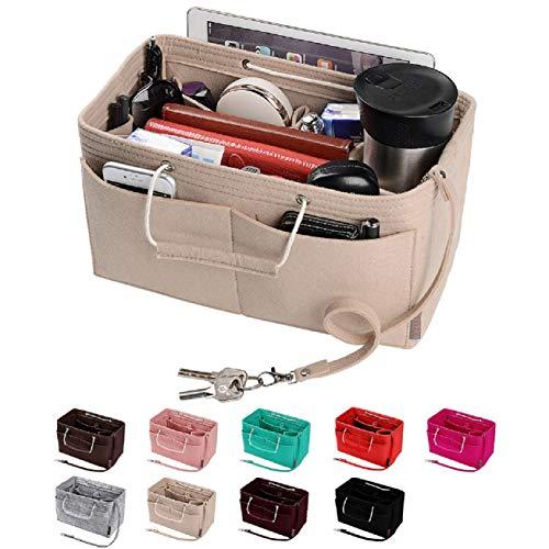 Purse Organizer, Multi-Pocket Felt Handbag Organizer, Purse Insert Organizer with Handles, Medium, Large (Medium, Beige)
