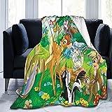 KINGAM Manta de forro polar Bambi vintage de Disney para sofá, cama, no se tritura, regalo para todas las estaciones, cálido y súper suave, varios tamaños, accesorios para dormitorio
