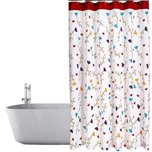 HuaForCity Duschvorhang aus Stoff B x H 220 x 200 cm wasserdichter waschbarer Textil Anti-Schimmel Digitaldruck inkl. 12 Duschvorhangringe für Badezimmer
