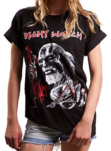 Vintage Maiden Band Shirt Kurzarm Game of Thrones Top Damen Iron schwarz Overszie Größe L