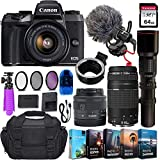 Canon EOS M5 Mirrorless Digital Camera & 15-45mm STM Lens + 2 Lens Kit w/Rode VideoMicro Compact On-Camera Microphone + 64GB Transcend Memory Card, Camera Bag & Essential Accessory Bundle