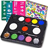 Bo Buggles Face Paint Kit with 30 Stencils, 9 Paints + 2 Glitters...