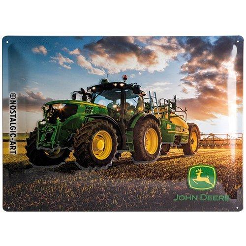 Nostalgic-Art John Deere – Photo Modell 6150 R – Geschenk-Idee für Traktor-Fans Blechschild, aus Metall, Bunt, 30 x 40 cm