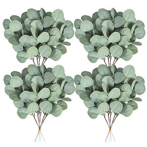 Ouddy 20 Pcs Fake Eucalyptus Leaves Stems 14.2' Tall Silver Dollar Artificial Greenery Stems for Home Wedding Decor Faux Eucalyptus Plant Bride Bouquet Vase Floral Arrangement (Grey Green)