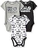 NFL Oakland Raiders 3 Pack Short Sleeve Bodysuit, black/grey/white Oakland Raiders, 0-3 Months (137453160RAD03M-003)