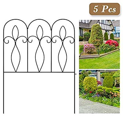 Decorative Garden Fence 32in x 10 ft Outdoor Coated Metal Folding Garden Fencing Garden Border Edging Fence Set Wire Folding Fencing for Landscaping, Garden Fence Animal Barrier, 5 Pieces, Black
