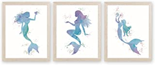 CHDITB Watercolor Mermaid Art Print Legend of The Sea Painting, Set of 3 <8x10 inch>Fairy Tale Fish Canvas Printing Sea Life Posters for Girls Bedroom Nursery Decor『Framed, Ready to Hang』