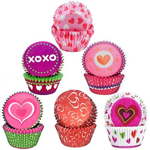 Fadaar Muffin Papel Magdalenas, Fundas Papel para Cupcakes con patrón Amor Envoltorio de Muffins 6 Estilos para Postres Hornear Pastel Tarta Cumpleaños Bodas Fiesta (Rojo)