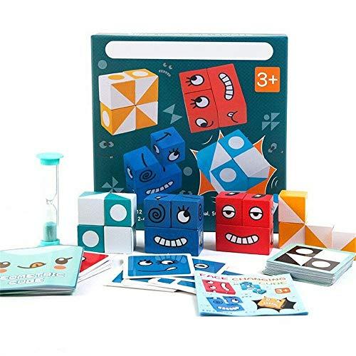 Tinydimple Ausdrucks-Puzzle-Bausteine, Kreative Das Gesicht VeräNdernde Denk-Training, Lernspielzeug, Eltern-Kind-Brettspiel-Holz-Herausforderung (A)