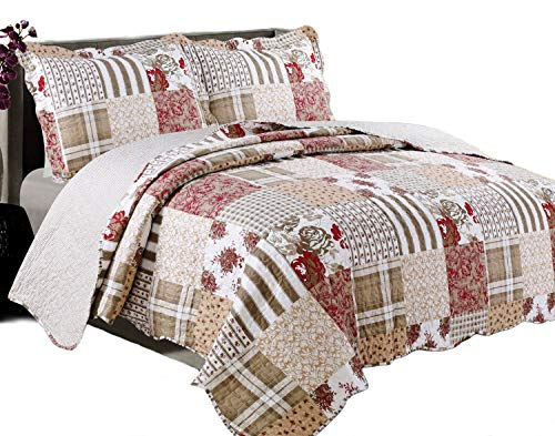 3-piece Quilt Set. Americana Full Queen, Soft Bedspread Set- Reversible Patchwork Coverlet with Shams