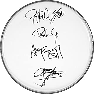 Kiss Gene Simmons Ace Frehley Paul Peter Autographed Signed Clear Drumhead Autographed Signed Facsimile