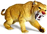 Mamejo Nature Large Saber Tooth Tiger Prehistoric Smilodon Rubber Toy 10.5 Inches