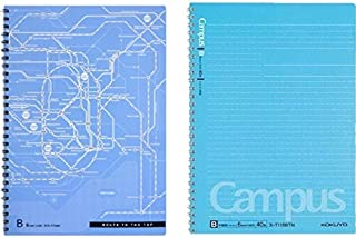 Kokuyo Campus Twin Ring Notebook, Semi B5-dotted 40 Sheets - 80 Pages, Pack of 2, Tokyo Route Map (sky blue 6mm)
