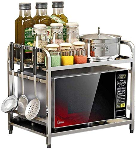 Estante de acero inoxidable para cocina, estante para microondas, 2 pisos, piso, doble capa, condimento, condimento, estante para horno, almacenamiento debajo del estante