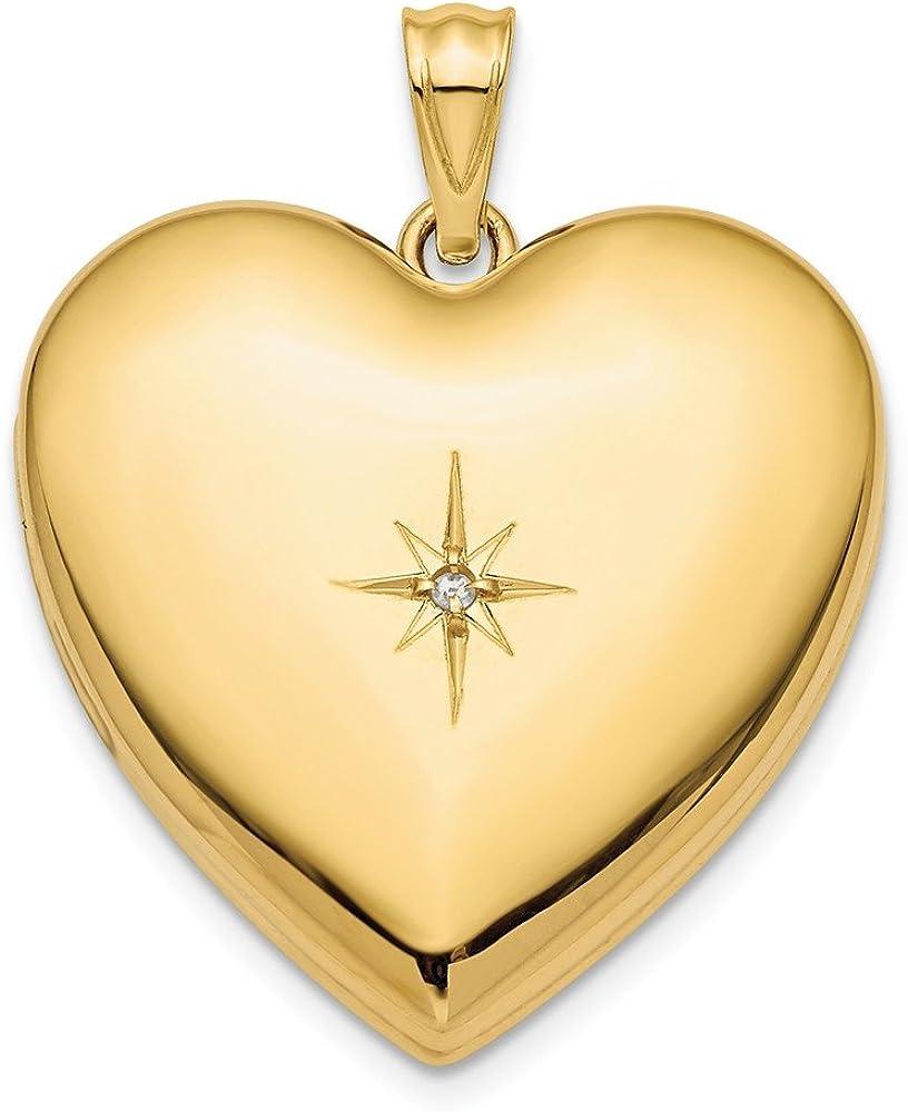 14K Yellow Gold 24mm Diamond Star Design Ash Holder Heart Locket Pendant
