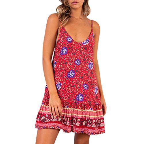 Lulupi T-Shirtkleid Tops Damen Tank Kleid Ärmellos Blumen Bedrucktes Kleider Kurze Elegant Strandkleid Casual Mini