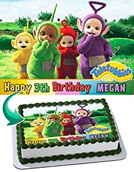 Cakecery Teletubbies Personalized Edible Cake Topper 1/2 11.7 x 17.5 Birthday Cake Topper