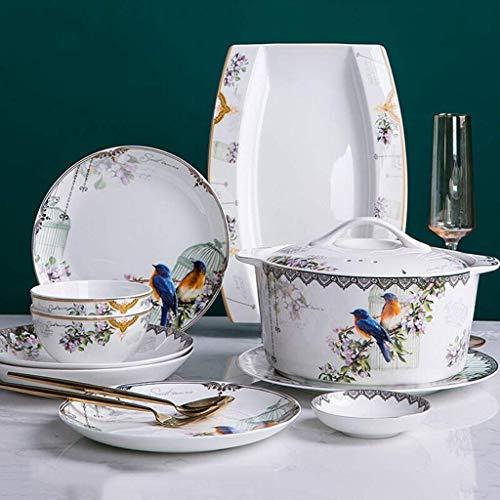 Vajilla de cerámica clásica, juego de vajilla de cerámica, 48 piezas de nuevos juegos de platos y cuencos de porcelana de estilo chino - Juego de cena de porcelana china para reuniones familiares y re