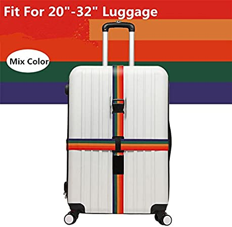 Adjustable Luggage Strap Travel Suitcase Baggage Packing Belt Long Cross Straps,Orange 2 Pack