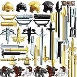 WWEI Juego de 50 cascos, armas de caballero y armas personalizadas para minicaballeros, figuras de policía SWAT, compatible con Lego