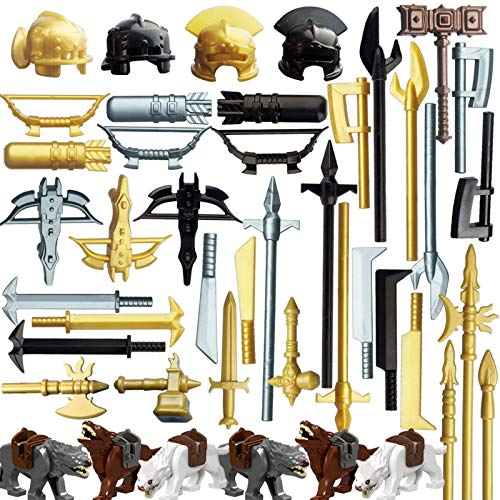 HYZM Militär Waffen Spielzeug, 50 Stücke Altgriechisch Altrömisch Millitärspielzeug Waffe Set für Soldaten Minifiguren SWAT, Kompatibel mit Lego