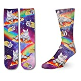 Zmart Mens Space Cat Pizza Socks Novelty Crazy Funny Galaxy Rainbow Animal Crew Socks